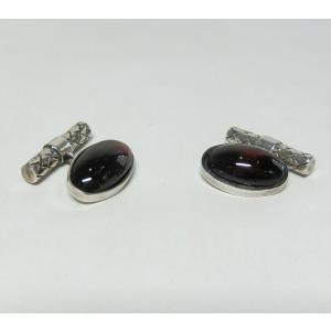 【送料無料】ボッテガヴェネタ BOTTEGA VENETA シルバー925 カフス ガーネット オーバル型|shichi-nishigaki
