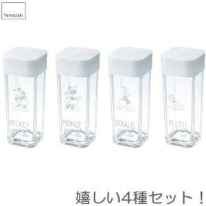 Disney(ディズニー) スパイスボトル 4個セット(ミッキー、ミニー、ドナルド、プルート) ホワイト 山崎実業|shichikuya