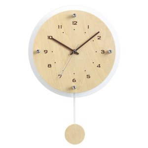 ノア精密 電波掛け時計 ウォールクロック アンティール 振り子時計 ナチュラル W-473 N shichikuya
