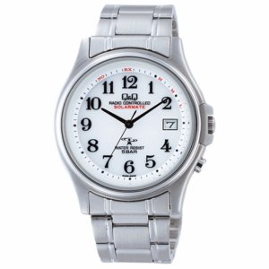 シチズン CITIZEN Q&Q ソーラー電波腕時計 ソーラーメイト アナログ表示 5気圧防水 ブレスレットバンド ホワイト HG00-800 メンズ|shien