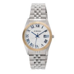 オレオール 腕時計 メタルバンドウォッチ 富士山文字盤 メンズウォッチ SW-592M-E AUREOLE オールステンレス 男性用|shien