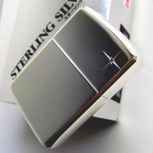 ジッポ ジッポーライター zippo スターリングシルバー 純銀製 ハイポリッシュ仕上げ ミラー 鏡面 ブラックダイヤ入り 喫煙具|shien