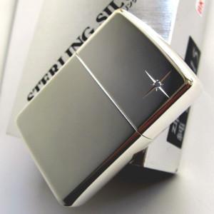 ジッポ ジッポーライター zippo スターリングシルバー 純銀製 ハイポリッシュ仕上げ ミラー 鏡面 サファイア入り 喫煙具|shien