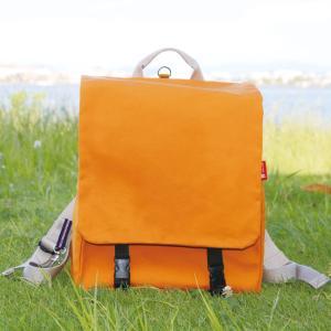 通学用 帆布リュック - オレンジ