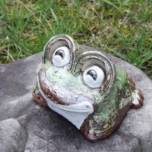 信楽焼 笑い目蛙ミニ 縁起物 カエル お庭 玄関先 陶器 蛙 子宝 金運 健康運 陶器かえる  カエ...