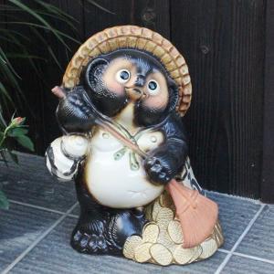 信楽焼 11号熊手タヌキ  福を呼ぶ縁起物 たぬき タヌキ 陶器 狸 開運 厄除け 商売繁盛 たぬき置物  狸 文字入れ 名前入れ ta-0002|shigaraki