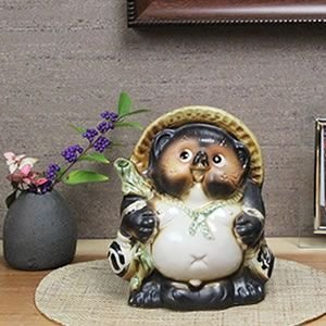 信楽焼 たぬきの置物 5号福々タヌキ タヌキ 置物 置き物 陶器 狸 開運 厄除け 商売繁盛 たぬき置物  狸 ta-0070|shigaraki