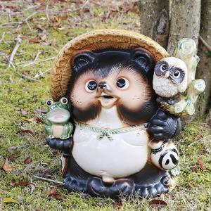 信楽焼 13号満願成就狸 福を呼ぶ縁起物たぬき  タヌキ 陶器たぬき ふくろう狸 たぬき置物  狸 名前入れ ta-0080 shigaraki