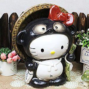 信楽焼 ハローキティー狸 大  たぬき 陶器タヌキ 置物  焼き物 狸 キティーちゃん  ta-0152  楽ギフ_包装|shigaraki