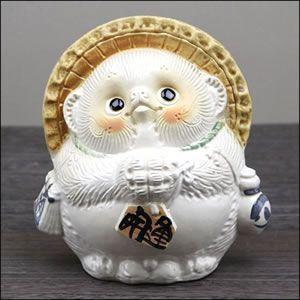 信楽焼 5号お願い狸 白 たぬき 縁起物 陶器 たぬき置物  狸  ta-0209|shigaraki
