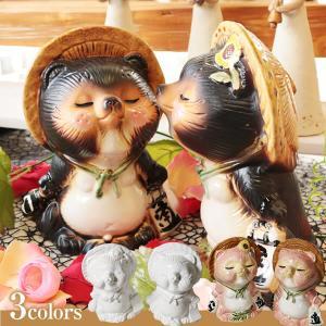 信楽焼 キス狸ペア  たぬき 縁起物 陶器 たぬき置物  狸  ta-0220|shigaraki