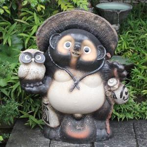 信楽焼 30号古信楽風ふくろう持ち狸  たぬき 縁起物 陶器 たぬき置物  狸  ta-0240|shigaraki