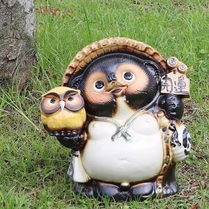 信楽焼 9号ふくろう持ち狸  たぬき  タヌキ 陶器たぬき 狸 たぬき置物  狸 名前入れ 名入れ フクロウ 梟  ta-0297|shigaraki