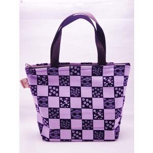 かわいい トートバッグ ファスナー式 パープル ギフト レディース ランチバッグ 和柄 日本製 紫|shigemori
