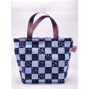 かわいい トートバッグ ファスナー式 ブルー ギフト レディース ランチバッグ 和柄 日本製 青|shigemori