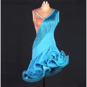 オーダーメード 社交ダンスドレス  ラテンドレス モダンドレス ロングスカート ダンスウエア 競技 デモ ダンス衣装 ワンピース|shihan