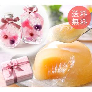 遅れてごめんね!母の日 プレゼント ギフト お花(ハーバリウム)と清水白桃ゼリーのセット|shihoya