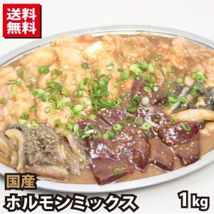 国産牛 ホルモンミックス タレ漬け 約1kg (約500g×2) 送料無料 牛肉