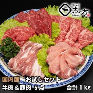 国内産 お試しセット 牛肉&豚肉 5点セット 1kg shikatameat