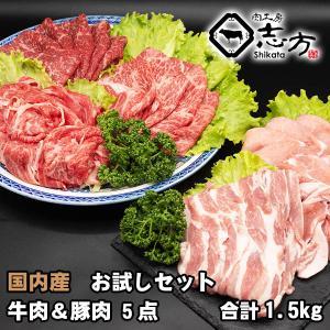国内産 お試しセット 牛肉&豚(国内産)肉 5点セット 1.5kg|shikatameat
