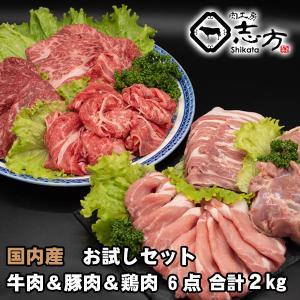 国内産 お試しセット 牛肉&豚肉&鶏肉 6点セット 2kg|shikatameat