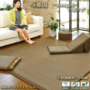 ラグ い草 カーペット ラグマット 約2.5畳 約191×191cm 与那国(ブラウン) 裏不織布貼|shikimonoya5o5o