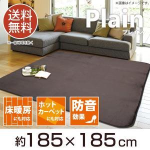ラグ 約2畳 ふっくら ラグ プレイン ブラウン 約185×185cm 床暖対応 ホットカーペット対応 送料無料...