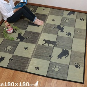 い草 マット い草ラグ 2畳 い草カーペット 猫 キューブキャット 180×180 ラグ 夏用  和柄 涼しい さわやか 夏ラグ 和室 市松柄  ギフト プレゼント ねこ|shikimonoya5o5o