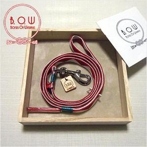B.O.W 平紐の引き綱 リード 平紐引き綱 鱗文様 紅色 正絹 日本製 送料無料|shikisaikan