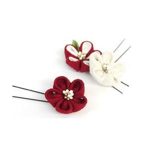 《花しおり》ちりめん つまみ細工 3色梅 Uピン髪飾り3点セット (赤)|shikisaikan
