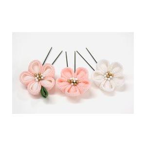 《花しおり》ちりめん つまみ細工 3色梅 Uピン髪飾り3点セット (ピンク)|shikisaikan