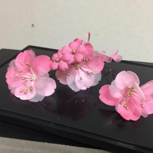 髪飾りUピン3点セットプチフラワー ピンク 小花垂れ付|shikisaikan