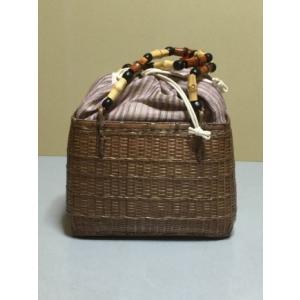 カゴバッグ 夏着物・浴衣用《花しおり》かごバッグ 竹/天然素材 正絹/ 茶色 紫のストライプの茶巾 shikisaikan