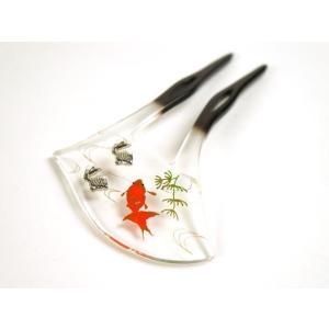「花しおり」 夏向け髪飾り  夏用・透明台に蒔絵(金魚|shikisaikan