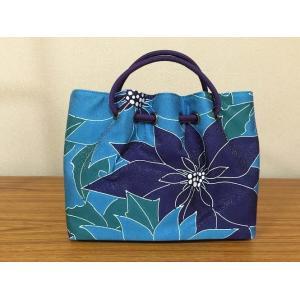 栗山紅型 正絹帯地和装バッグ ポインセチア 青|shikisaikan