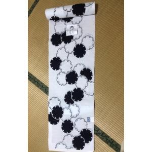 反物 浴衣地 竺仙 8綿絽白地  雪の輪 江戸注染染めブランド 美しいキモノ掲載常連 日本製 大人 レディース 女性|shikisaikan