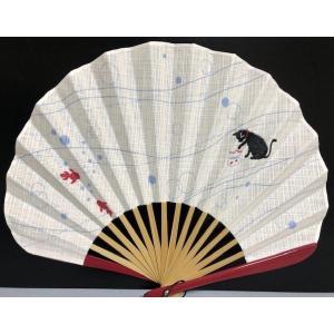 扇子 女性用 猫と金魚 扇子袋付き 母の日 プレゼント  還暦 古希 喜寿 お祝い 和小物 和装小物|shikisaikan