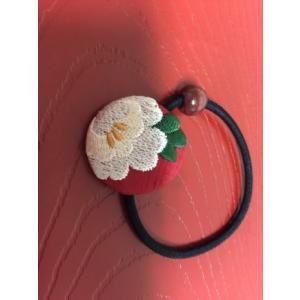 くるみボタン刺繍ヘアゴム 花刺繍|shikisaikan