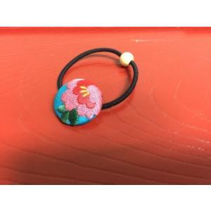 くるみボタン刺繍ヘアゴム 花刺繍 |shikisaikan