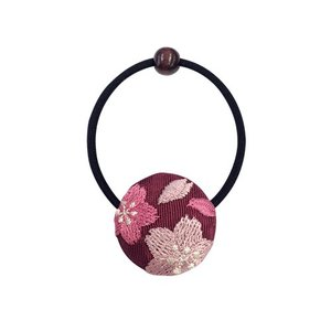 くるみボタン刺繍ヘアゴム 花刺繍 桜エンジ|shikisaikan