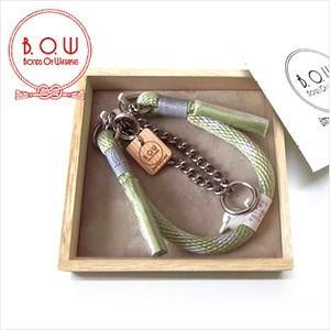 B.O.W ハーフ・チョークの首輪 カラー 丸紐首輪 菱文様 柳茶 正絹 日本製|shikisaikan