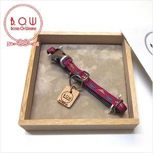 B.O.W バックルの首輪 カラー 平紐首輪 鱗文様 苺色 正絹 日本製|shikisaikan