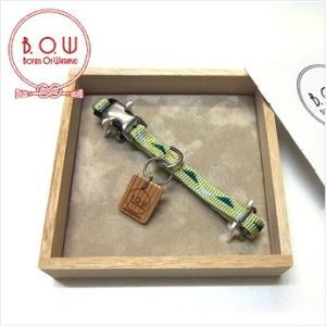 B.O.W バックルの首輪 カラー 平紐首輪 鱗文様 白緑 正絹 日本製|shikisaikan