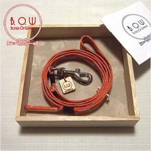 B.O.W 平紐の引き綱 リード 平紐引き綱 石畳文様 珊瑚朱色 正絹 日本製 送料無料|shikisaikan