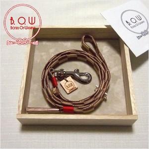 B.O.W 平紐の引き綱 リード 平紐引き綱 石畳文様 煎茶色 正絹 日本製 送料無料|shikisaikan