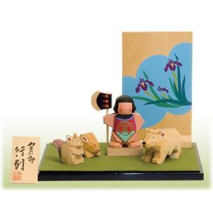 一刀彫り五月人形 金太郎行列  こどもの日 御祝 shikisaikan
