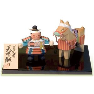 一刀彫五月人形 若武者天下取り  こどもの日 御祝 shikisaikan