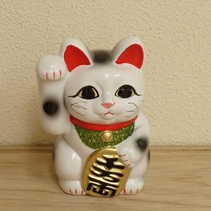 お金を招く右手を上げた招き猫です。 お店の開店祝いや改装オープンの御祝いなどにおすすめの招き猫です。...