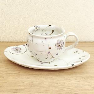 コーヒーカップ ソーサー 粉引小花 和陶器 おしゃれ 美濃焼 業務用  9a775-72-33g shikisaionline