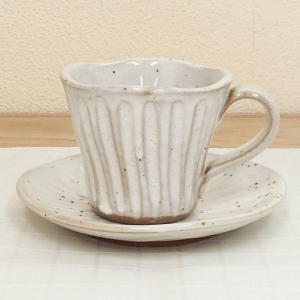 コーヒーカップ ソーサー 粉引削ぎ 和陶器 おしゃれ 美濃焼 業務用  9a775-69-34g|shikisaionline